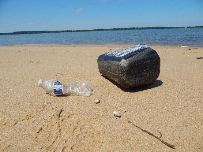 Littered debris on sand