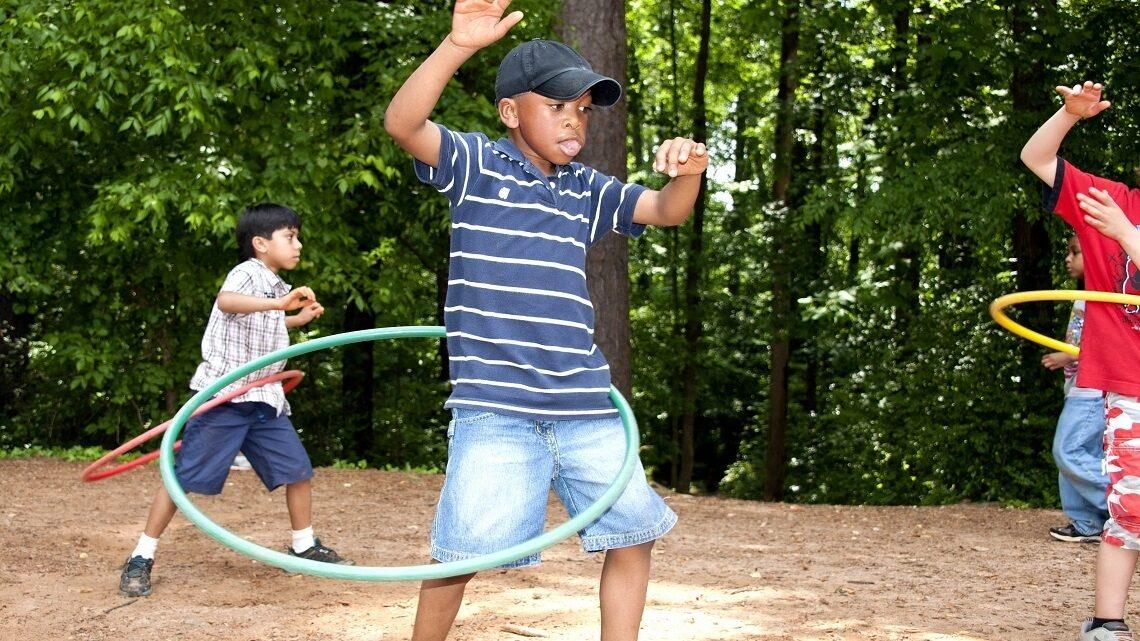 Students hula-hooping