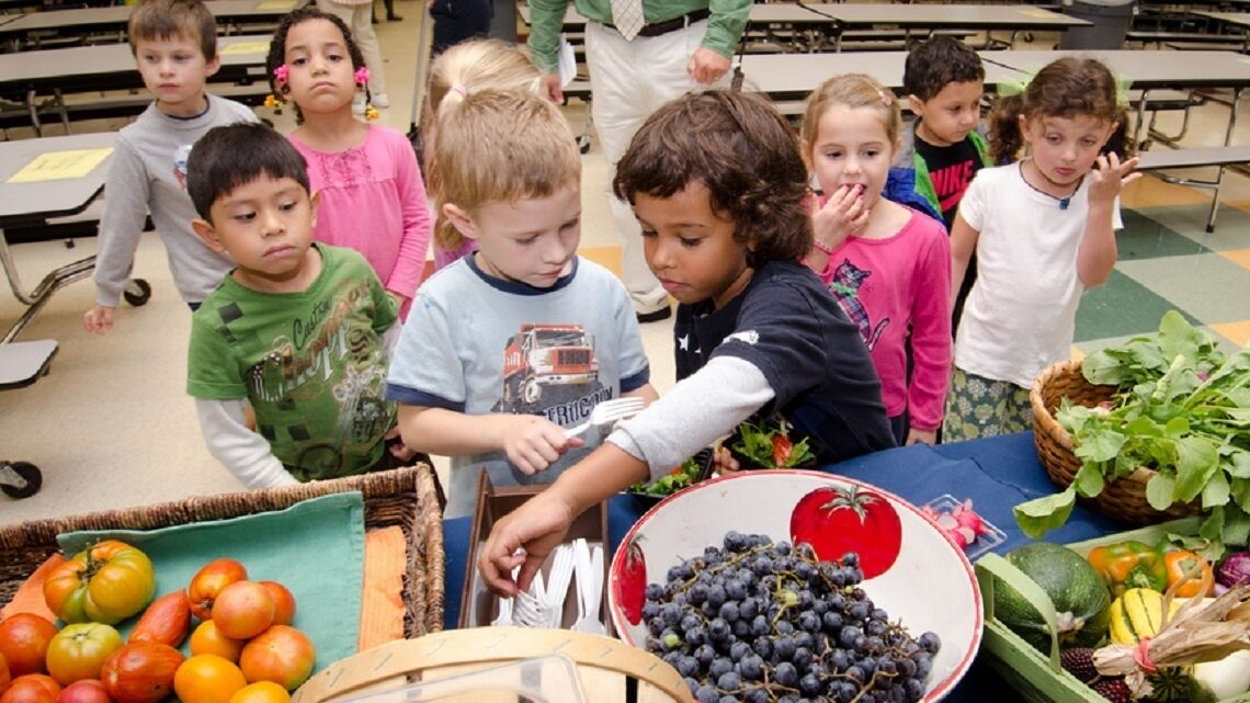 Students preparing to eat a healthy meal